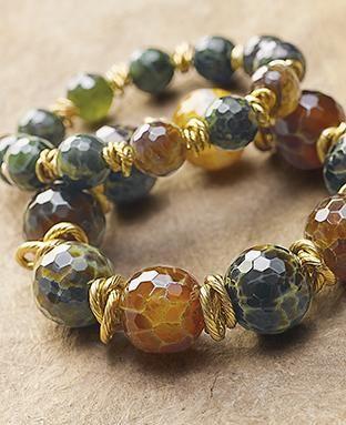 earth tone agates on the Merida Bracelet. Set off with intertwined brass links each stone is unique.: Earth Tone, Idea, Gemstones Jewelry, Beading Bracelets, Merida Bracelet