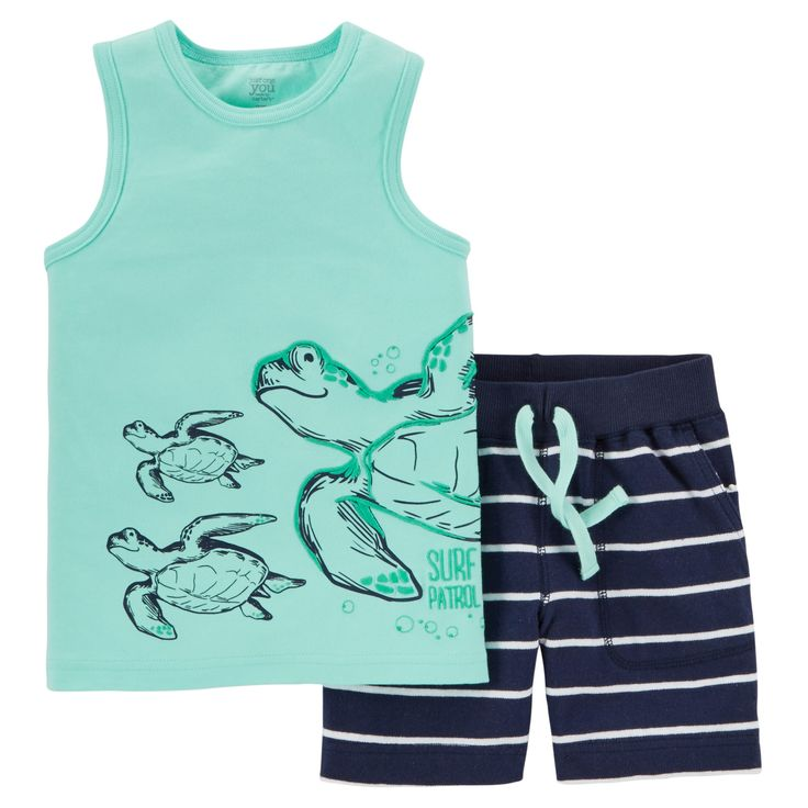 Toddler Boys' 2pc Shorts Set - Just One You Made by Carter's Turquoise/Navy 18M, Size: 18 M, Blue