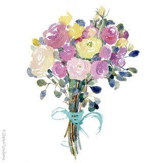 Дарья Гульбина. Букет кенийских роз.  Welcome instagram.com/daryagulbina  facebook.com/clubdaryagulbina  vk.com/clubdaryagulbina #watercolor #watercolors #roses #rose #flowers #watercolorflowers #finearts #handdrawn #drawing #illustration #illustrator #graphics
