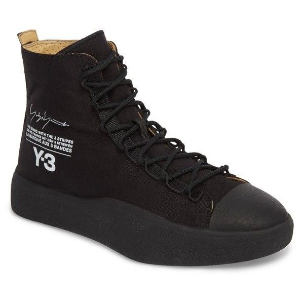Men s Y-3 X Adidas Bashyo High Top Sneaker ( 320) ❤ liked on Polyvore  featuring men s fashion, men s shoes, men s sneakers, black, mens canvas  shoes, mens ... 1321303a73