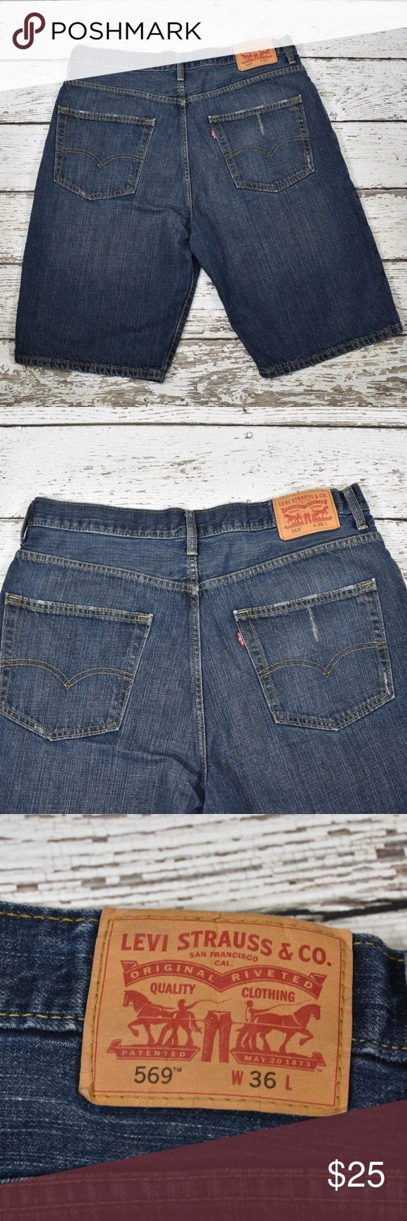 "Levi 569 Men's Denim Shorts Men's Levi 569 denim shorts Size 36 normal wash/wear  measurements laying flat: waist 19"" total length 26"" Levi's Shorts Jean Shorts"
