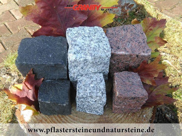B&M GRANITY-Granit-Pflastersteine aus Polen und Schweden, gespalten (schwarz /SCHWED/, grau -Mittelkorn und rot /VANGA/). Es gibt noch andere Varianten von Granit-Pflastersteinen.