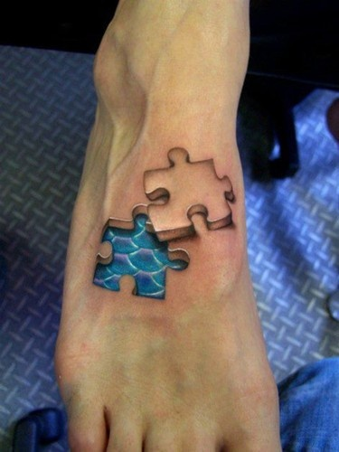 Puzzle Piece Mermaid Tattoo