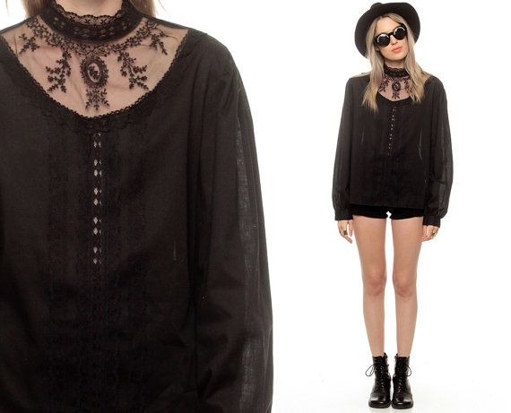 Black Victorian Blouse Sheer LACE Mesh Embroidered by ShopExile, $68.00