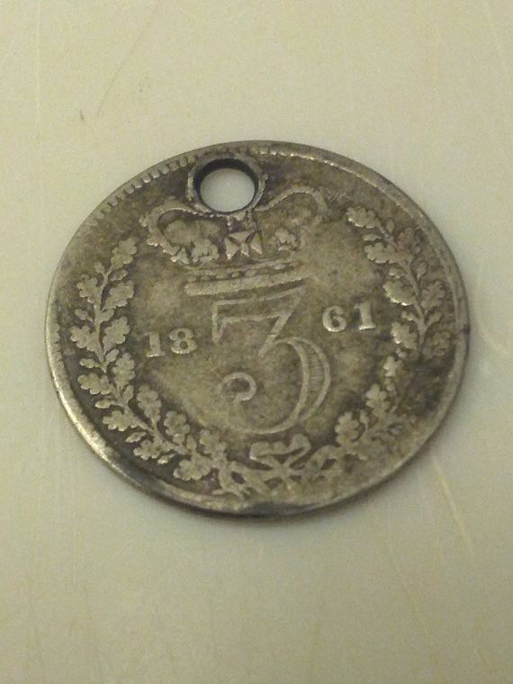 1861 silver 3 pence old british coin hole by DrewsCollectibles, $11.00