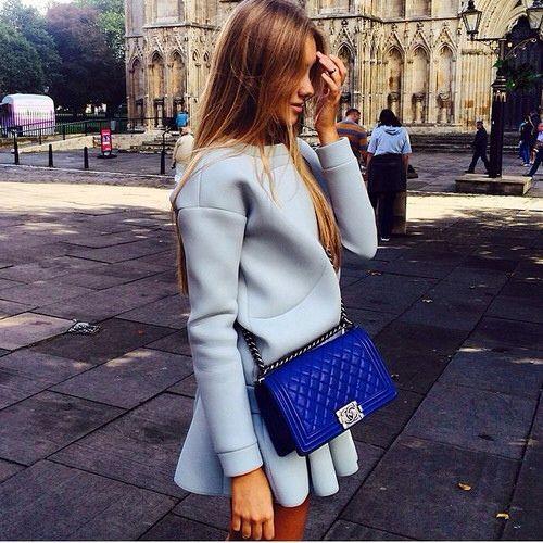 All Grey/ Neoprene Sweatshirt/ Blue Chanel Boy Bag