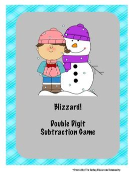 Blizzard is a great game to provide your students with an exciting chance to apply knowledge of double digit subtraction problems with and without regrouping.  In this partner game, students take turns solving subtraction problems with a partner to cover the board before a blizzard card is drawn.