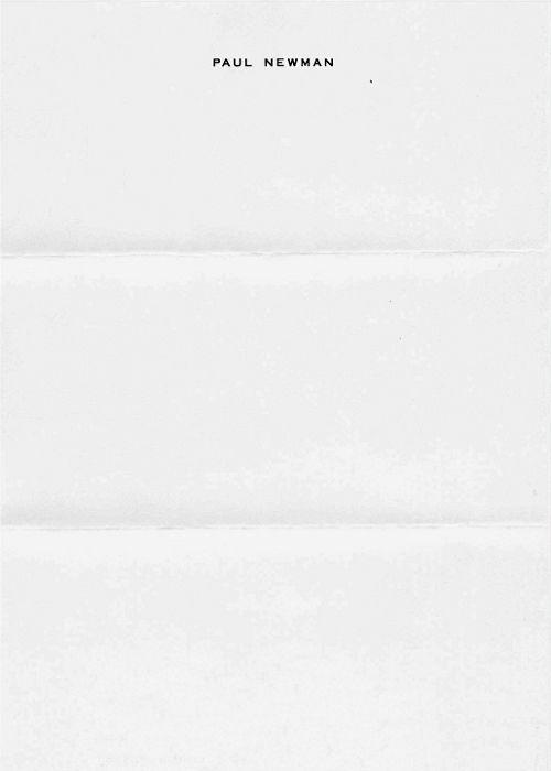 Paul Newman's letterhead. Fabulous.