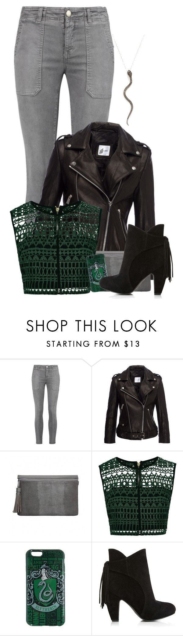 """Slytherin"" by charlizard ❤ liked on Polyvore featuring Current/Elliott, Anine Bing, River Island, Shay, harrypotter, slytherin, hogwarts, leatherjacket and fallfashion"