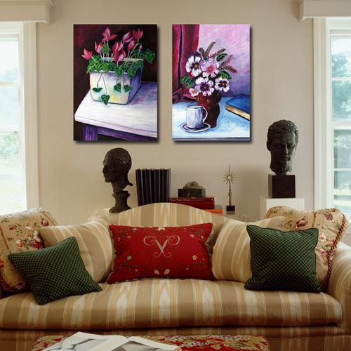 Tapiz hippie Modern oil Painting Wall Hanging Canvas for home Decoration colorful flowers vase art picture  2 Panels CY736