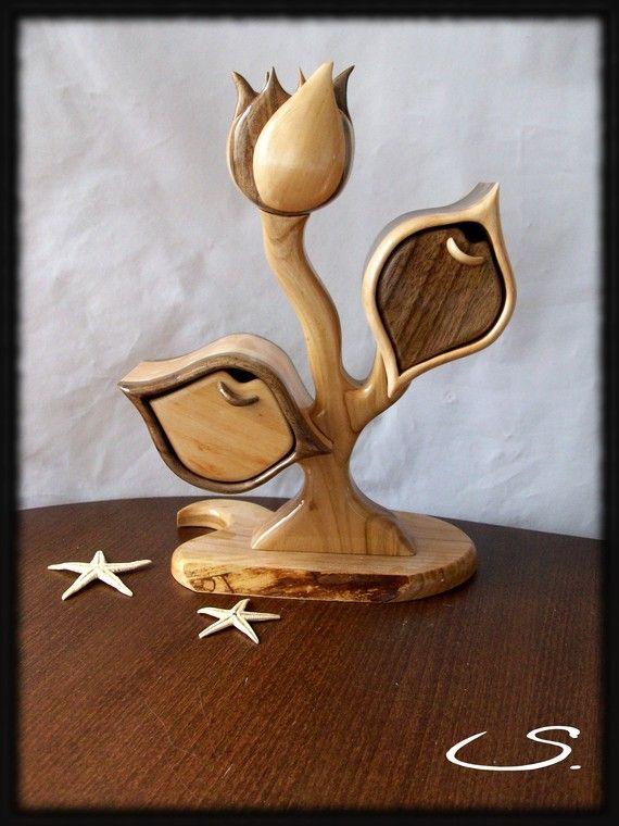Handmade Wooden Jewelry Box Rose,Keepsake box,Memory box,Storage box ,Valentines…