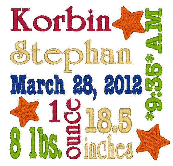 Baby Boy/Girl Birth Announcement Word Art Machine Embroidery Design (with or without stars)