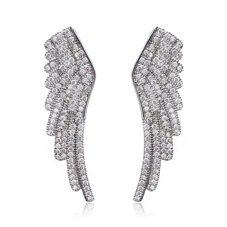 Лучшие качества platinum покрытием полный циркон камень крыло ангела стад серьги для женщин свадьбу лучшие подарки для друга, любовника