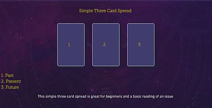 Simple Three Card Spread! Check out this and more free tarot spreads by The Tarot Guide! Tarot card spreads, tarot card layouts, love tarot spread, Relationship tarot spread, 3 card spread, free daily tarot, taro, free tarot, how to read tarot cards,