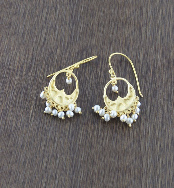 White Stone Dangling Earrings