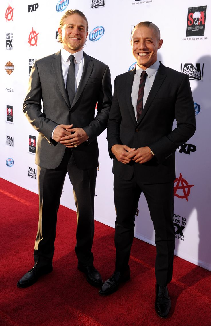 "Charlie Hunnam and Theo Rossi arrive at FX's ""Sons of Anarchy"" Season 6 Premiere Screening and Party. #SOAFX"