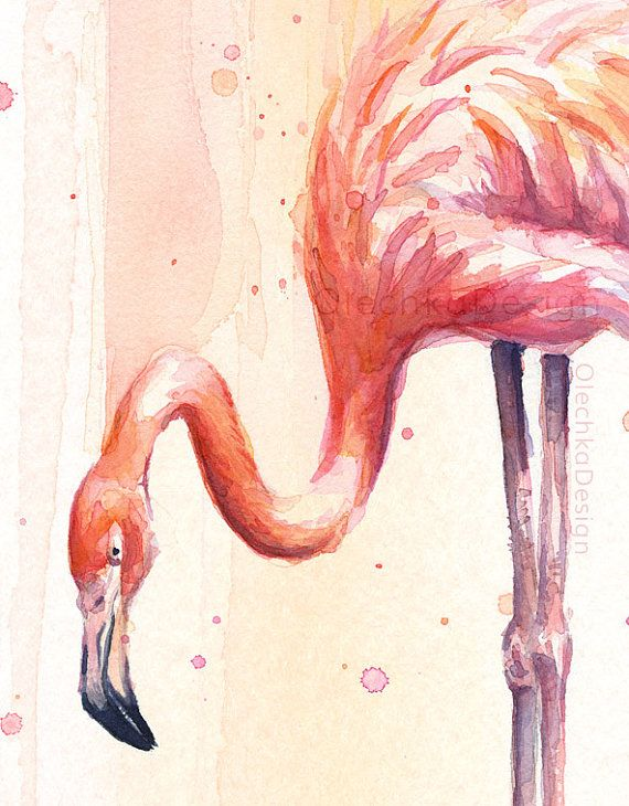 Acuarela de dos flamencos rosados lluvia rosa por OlechkaDesign