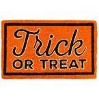 Trick or Treat 18 in. x 30 in. Coir Door Mat, Oranges/Peaches