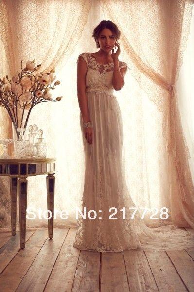 Высокая мода 2014 совок короткими рукавами анна кэмпбелл кружева свадебные платья фабрика vestidos longos летние свадебные платья для женщин купить на AliExpress