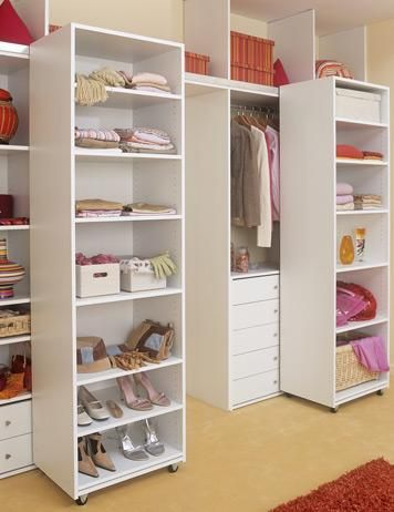 Deep Narrow Closet Solution   Roll Out Shelves/roll Out Hanging Bar