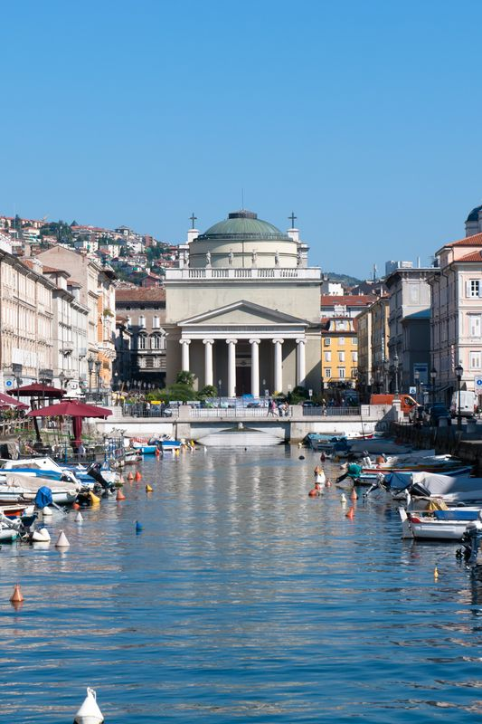 San Antonio Church at the end of The Grande Canal, Trieste, Italy.***