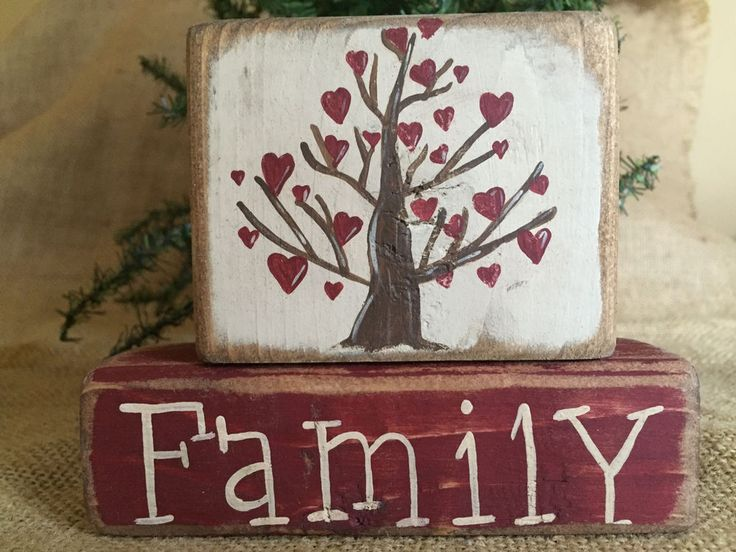 Country Primitive Family Tree of Hearts Family 2 pc Shelf Sitter Wood Block Set #CountryPrimitive