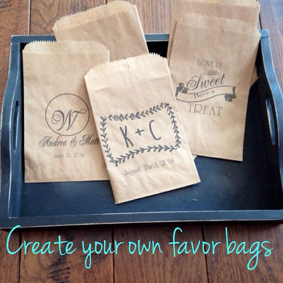 Personalised Wedding Favour Paper Bags : Custom Wedding Favors, Cookie bags, recycled brown paper cake take ho ...
