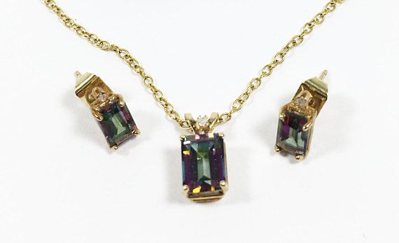 10k Mystic Fire Topaz Diamonds 10 Karat Gold Necklace Earring Set Gemstone Diamond Demi Parure Pendant Pie Vintage Jewelry Sets Earring Set Mystic Fire Topaz