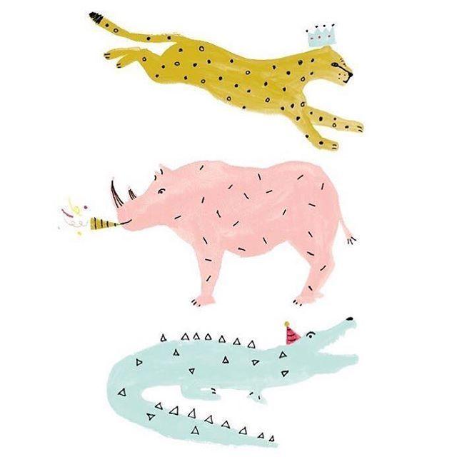 Monique V D Vlist Artdirector Auf Instagram Party Animals Gibt Es Heute Hier Geburtstagsfeiern Herzlichen Gluckwunsch Und Viel Spass Alles Gute Zum Gebur In 2020 Animal Illustration Unicorn Illustration Illustration Character Design