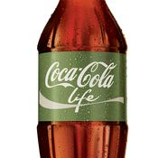 "Coca-Cola Life, a new product being rolled out in Argentina with a green label, is being marketed as a ""natural"" and therefore lower-calorie cola. Also, sus botellas de hielo en Colomba..."