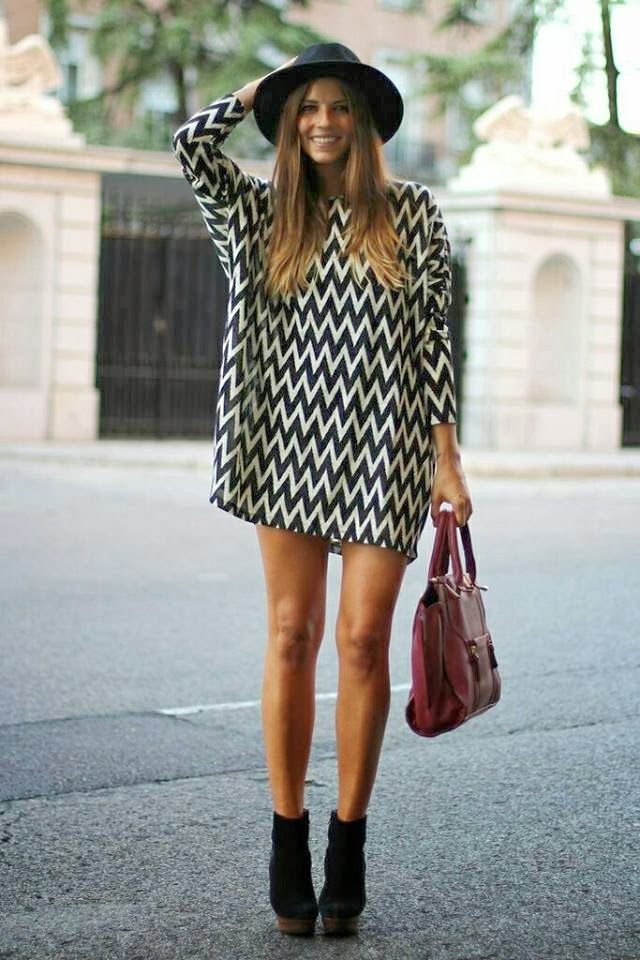 Fashionable, Patterned, Sweater Dress with Burgundy Handbag, Black Stylish Boots and Hat, Street Style