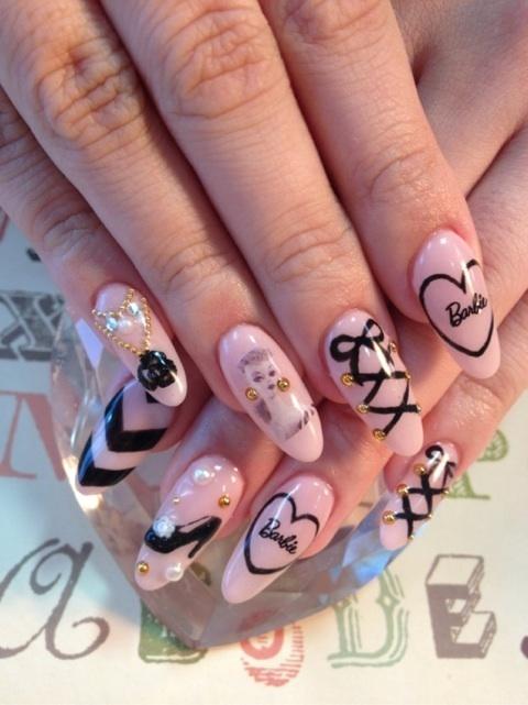 barbie nail art design