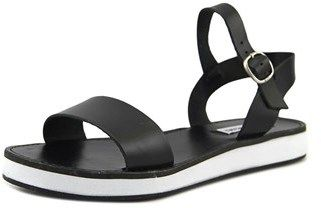 Steve Madden Deluxe Women Open Toe Leather Black Platform Sandal.