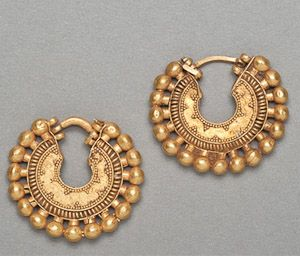 "Achaemenid(1st Persian Empire-Susa-Cyrus the Great)-- Gold 'hoop' earrings --500 BC-- Dim: 1+ 1/8"" (published in 'Antique Treasure IX' NY, 20ll--Antiques Ltd.--p.16)"