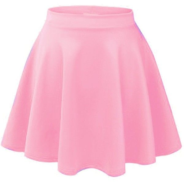 ACEVOG Women's Stretch Waist Flared Skater Skirt Dress Mini Skirt 15... (£5.34) ❤ liked on Polyvore featuring skirts, mini skirts, bottoms, dresses, pink, pink skirt, pink skater skirt, flared mini skirt, circle skirt and short skirts