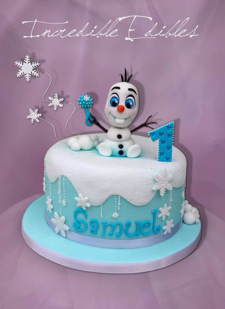 Baby Olaf cake. Baby's first birthday, Frozen party ideas