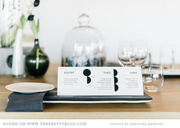 Black & white table decor & stationery | Photo: Christine Meintjes, Styling: AnnaH, Stationery: Sugarpenguin