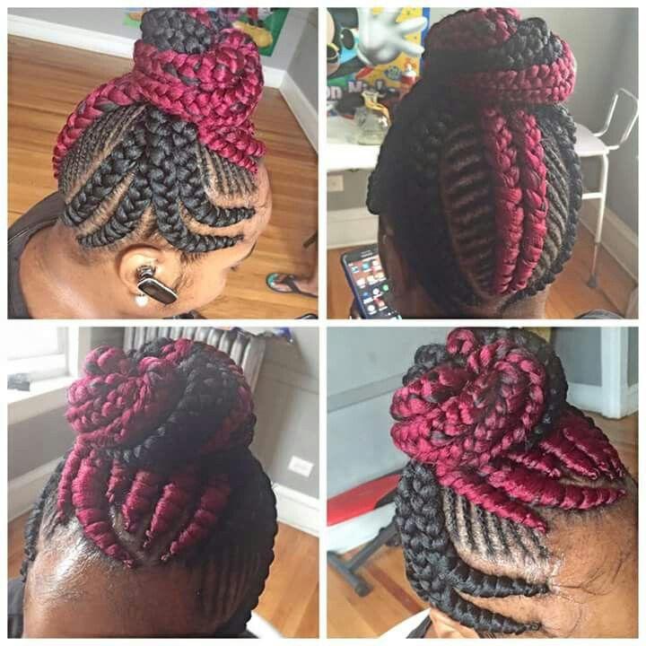 protective hairstyles banana braids going into a bun