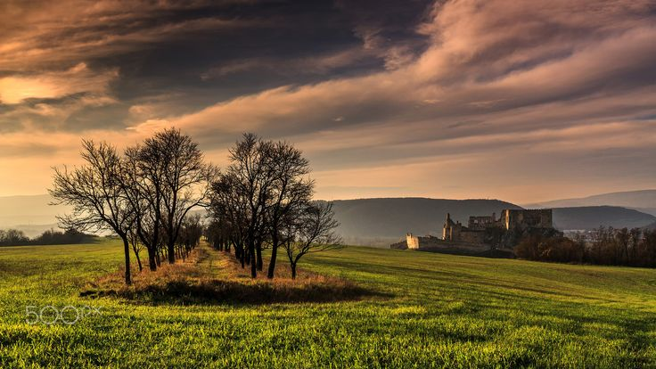 Beckov castle at the sunset - autumn at the Beckov Castle at Slovakia