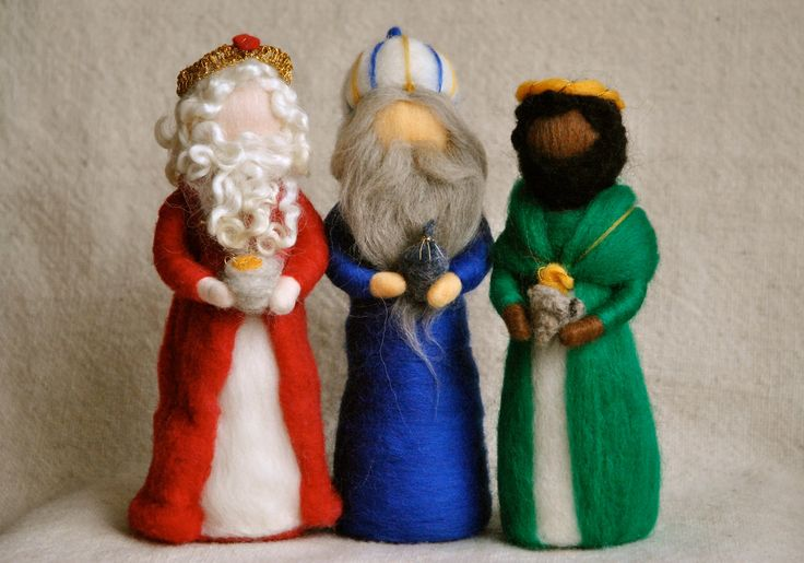Nativity Set Waldorf inspired needle felted Christmas dolls:The Wise men. $126.00, via Etsy.