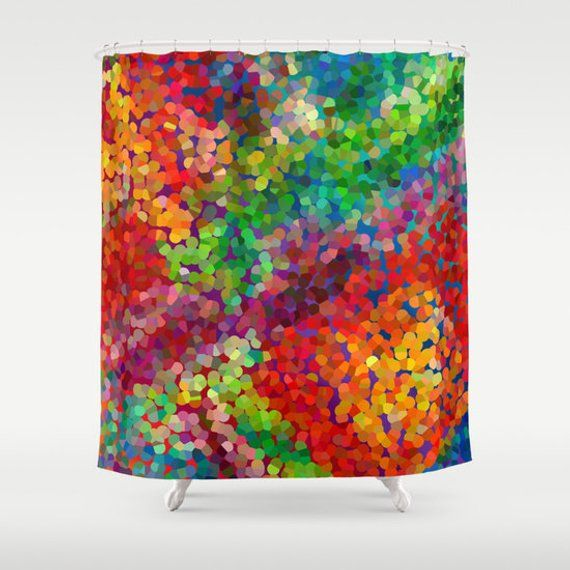 Jewel Tone Art Shower Curtain Red Blue Green Colorful Fabric