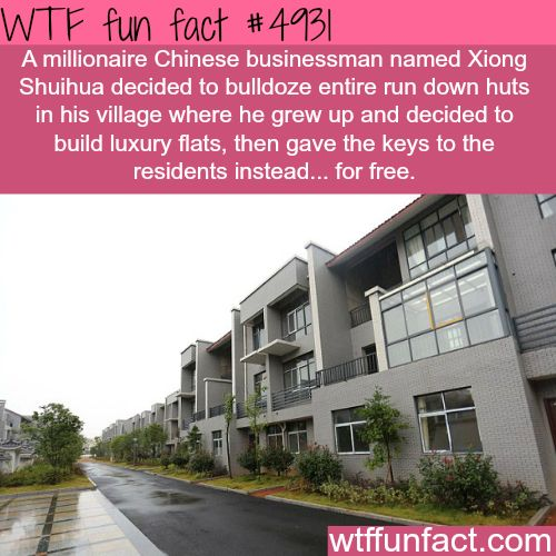 Millionaire Chinese man gives luxury flats for free - Faith In Humanity Restored!  ~WTF! awesome & fun facts