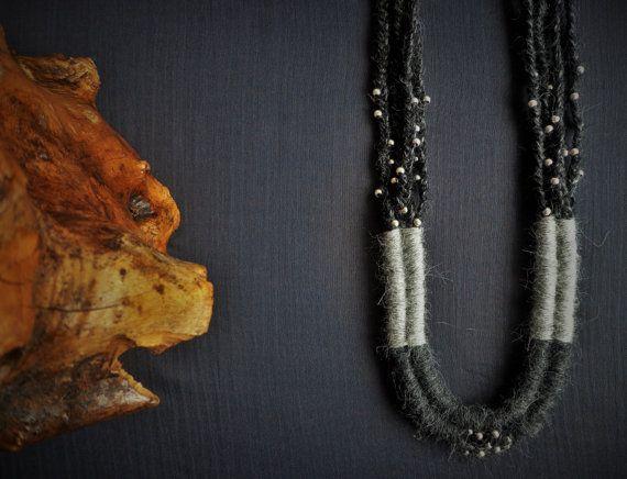 Grey Long Fiber statement necklace Alpaca by EvisHandmadeJewels