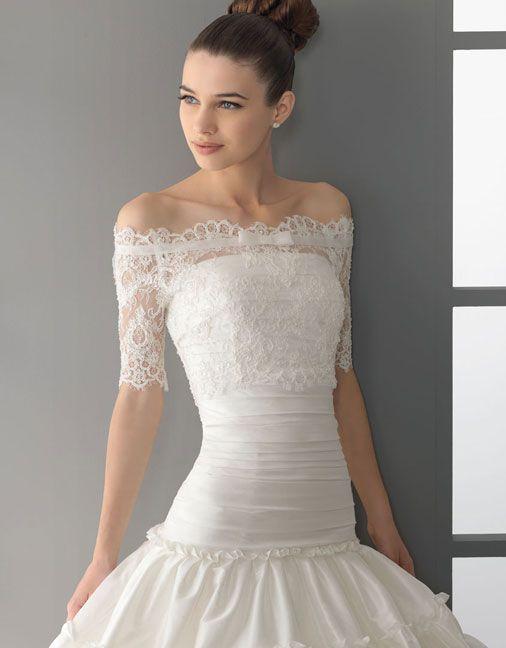 Glamorous half sleeve ball gown floor-length wedding dress