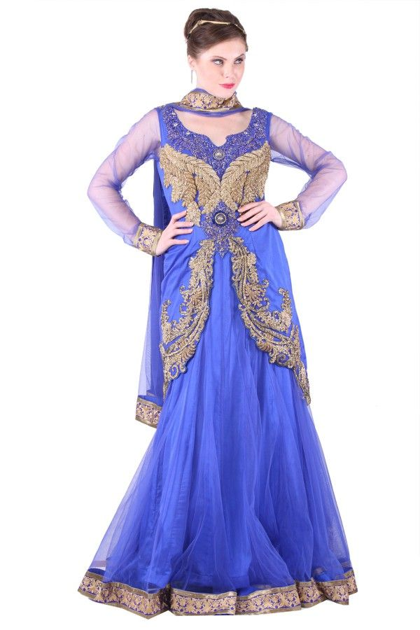Blue Silk and Net Lehenga  Get at: http://www.shadesandyou.com/product/blue-silk-and-net-lehnga/  #LehengaCholi #BridalLehengas #DesignerLehengas
