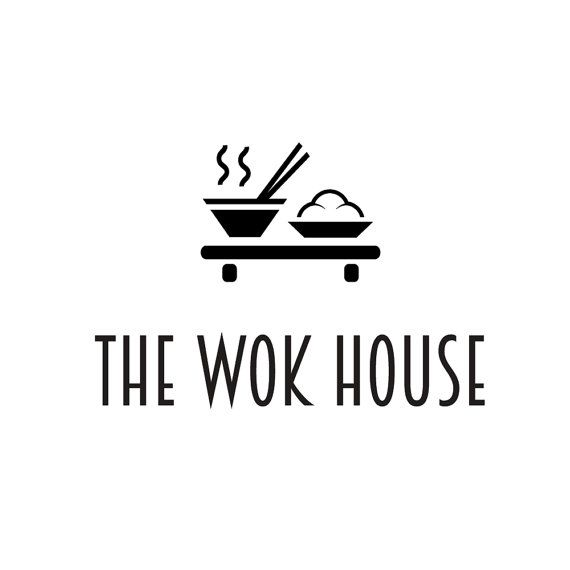 Premade logo design. Wok restaurant, bar, Japanese, Thai, Asian, oriental food, noddles. Minimalist, minimal, elegant, simple, iconic, black