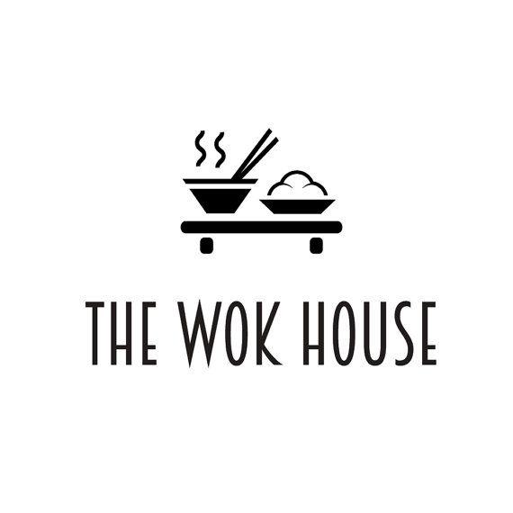 Premade logo design. Wok restaurant, bar, Japanese, Thai, Asian, oriental food, noddles. Minimalist, minimal, elegant, simple, iconic, black