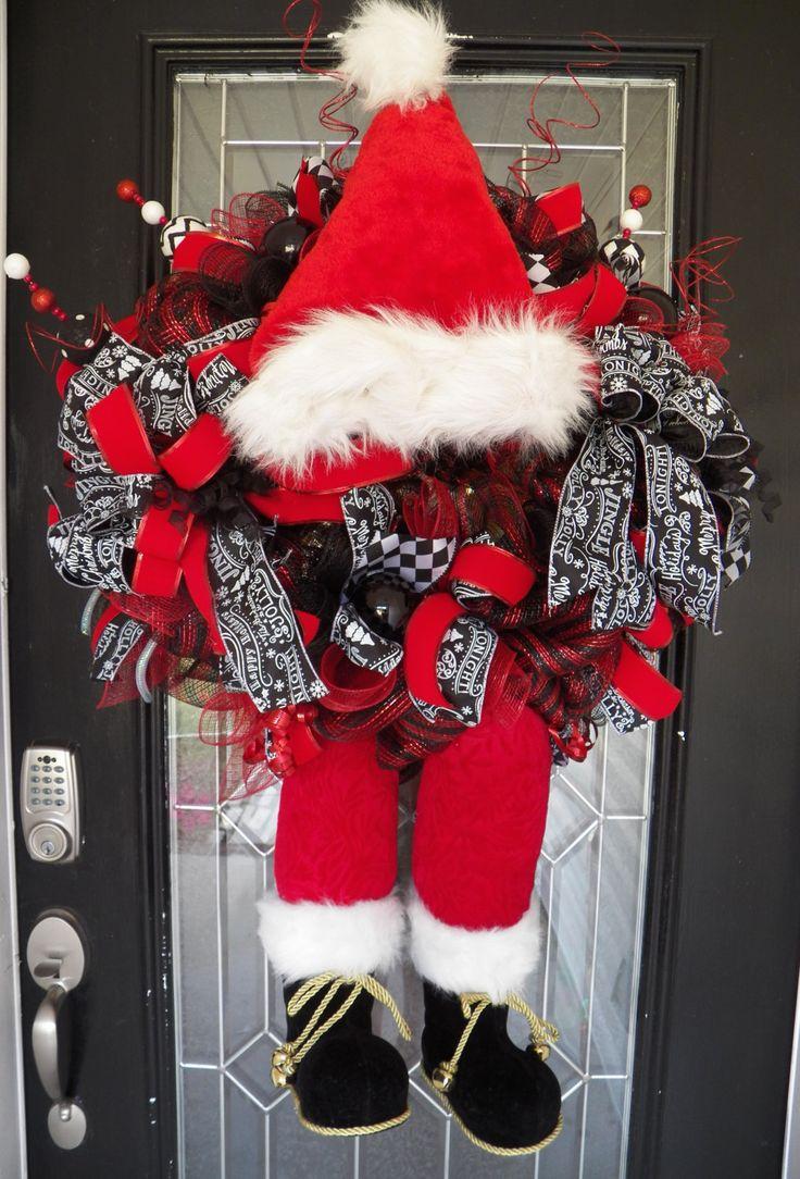 Last One!  XL Christmas Wreath, Santa Wreath, Holiday Wreaths, Door Hanger, Wreath for Door, Front door wreaths, Christmas Decor by OccasionsBoutique on Etsy