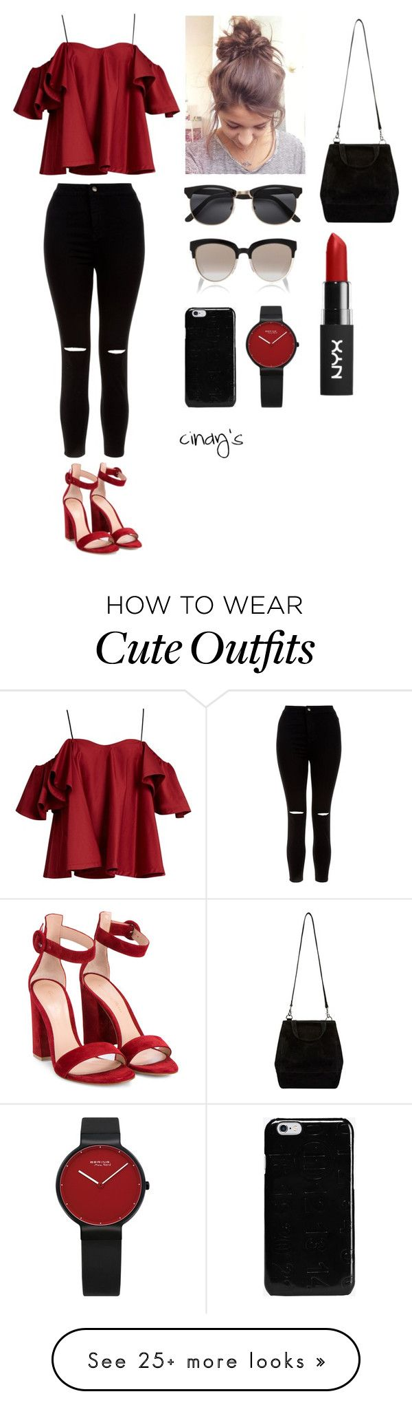 """""""outfit of the day3"""" by cindyvirgantari on Polyvore featuring New Look, Anna October, Maison Margiela, Christian Dior, Gianvito Rossi, black and red"""