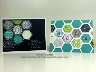 Cricut Artbooking Hexagon Cards! Stamped with CTMH Honeycomb stamp set! Michelle's Handmade World